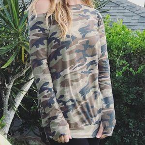 Tops - Camo Off Shoulder w/thumb holes Sweater Top
